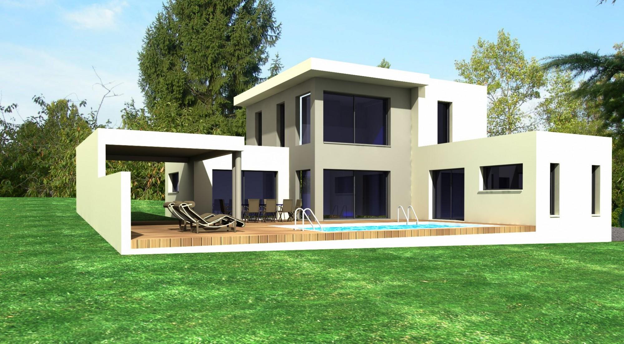Projet d 39 une maison tr s grande hauteur de baie vitr e etudes de projets bureau d 39 tudes et for Maison moderne avec grande baie vitree
