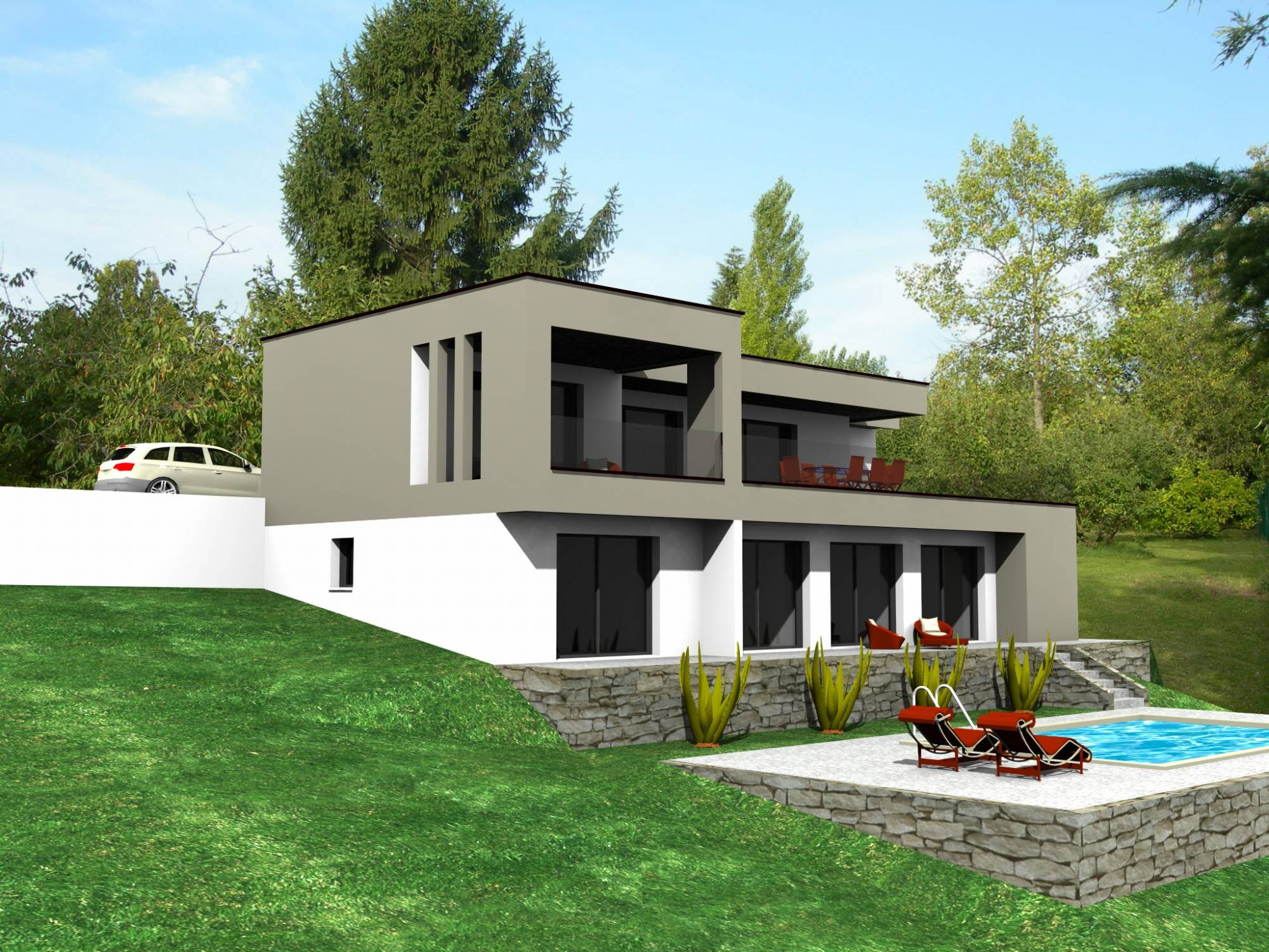 projet au sud de lyon pour cette maison contemporaine bureau d 39 tudes et architectes. Black Bedroom Furniture Sets. Home Design Ideas