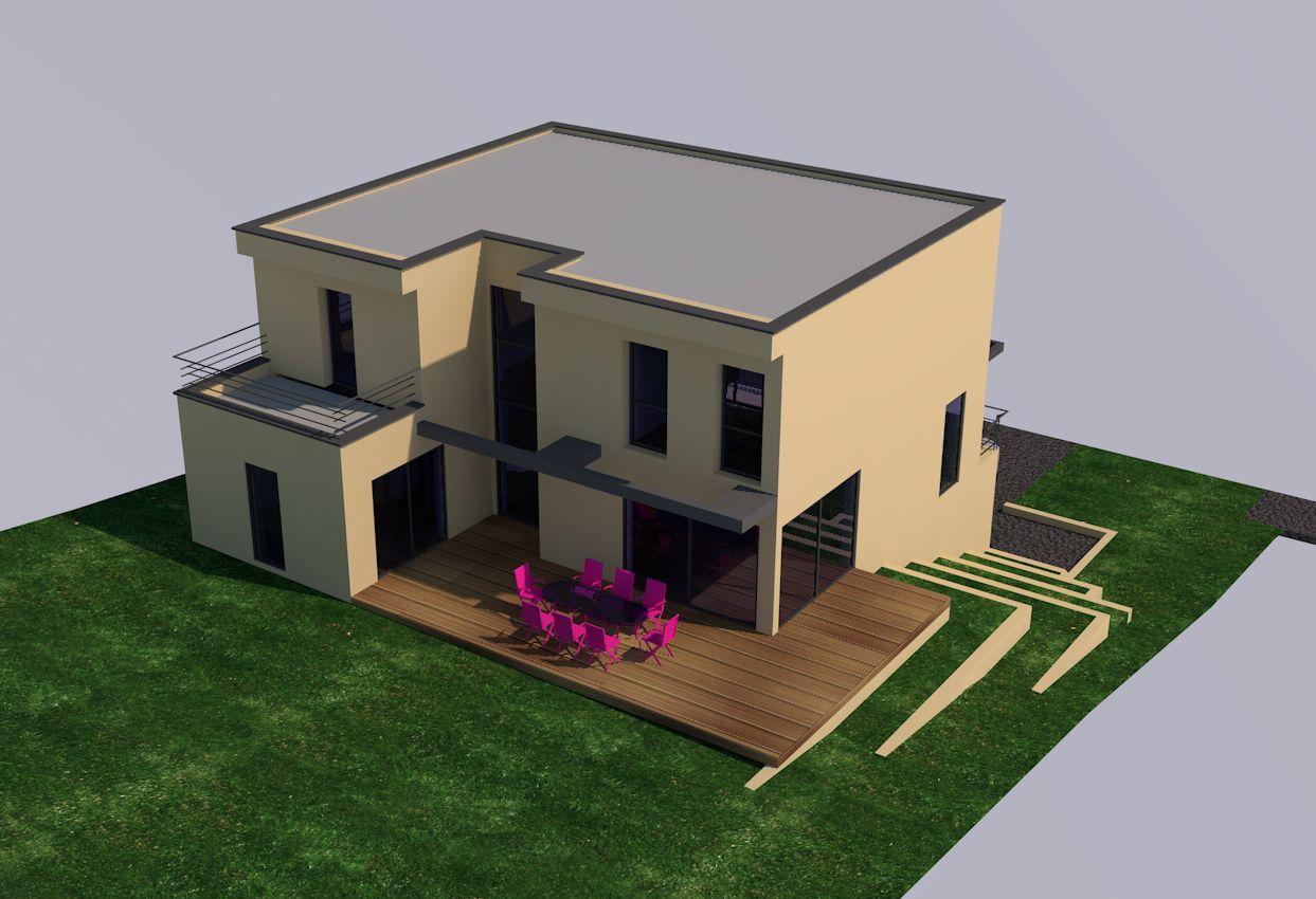 Maison sur terrain en pente bureau dutudes et architectes sur sane concept cration with maison for Amenagement exterieur maison terrain en pente