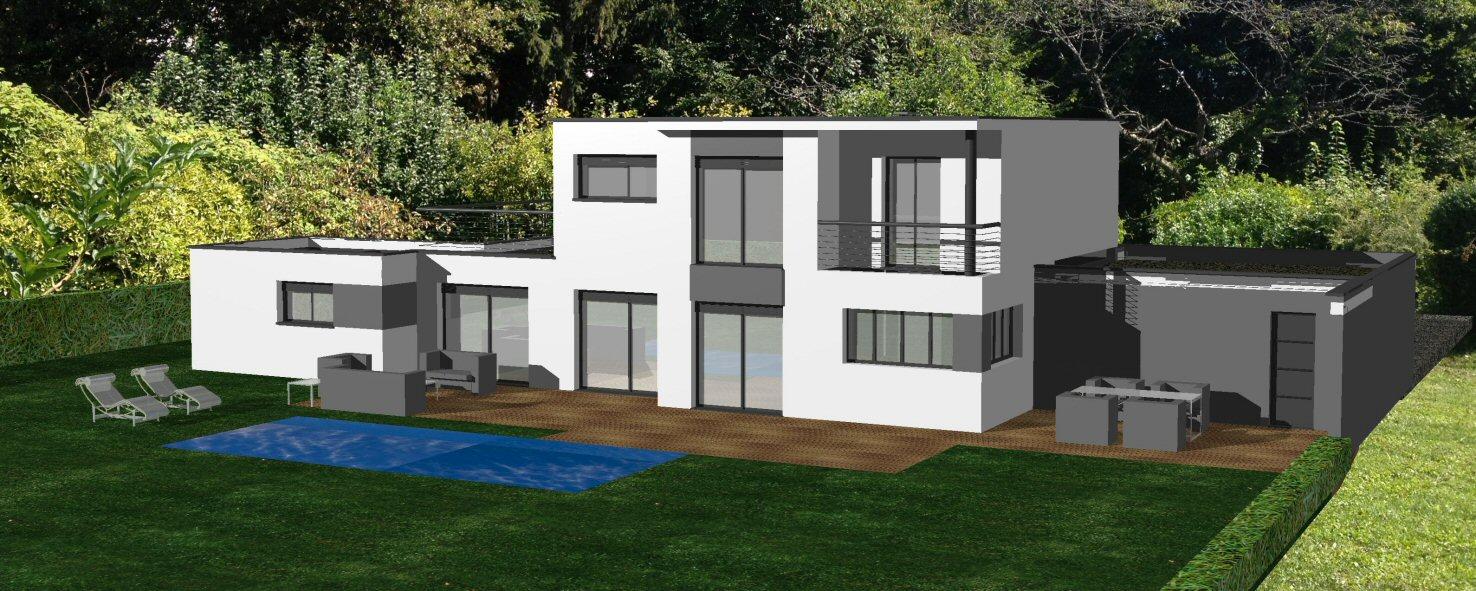Avant projet pour maison contemporaine avec toit terrasse bureau d 39 tudes - Maison avec toit terrasse ...
