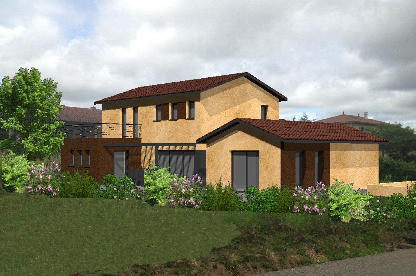 Maison semi contemporaine projet soumis aux abf bureau d for Constructeur maison contemporaine lyon