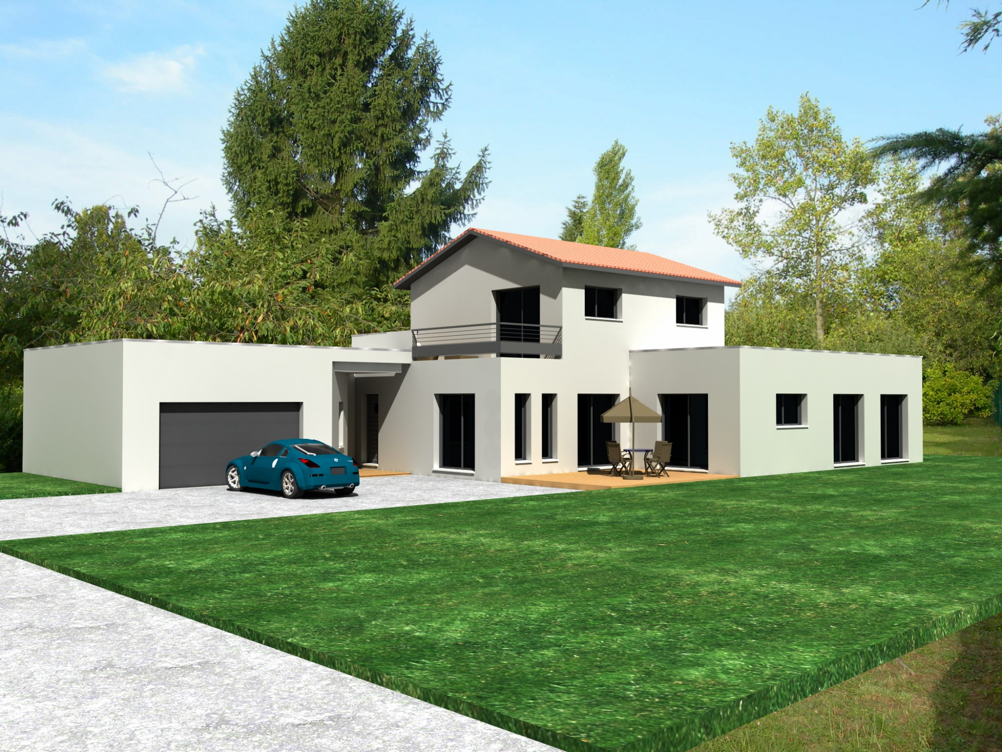 Maison moderne toit plat construction for Construction toit plat beton