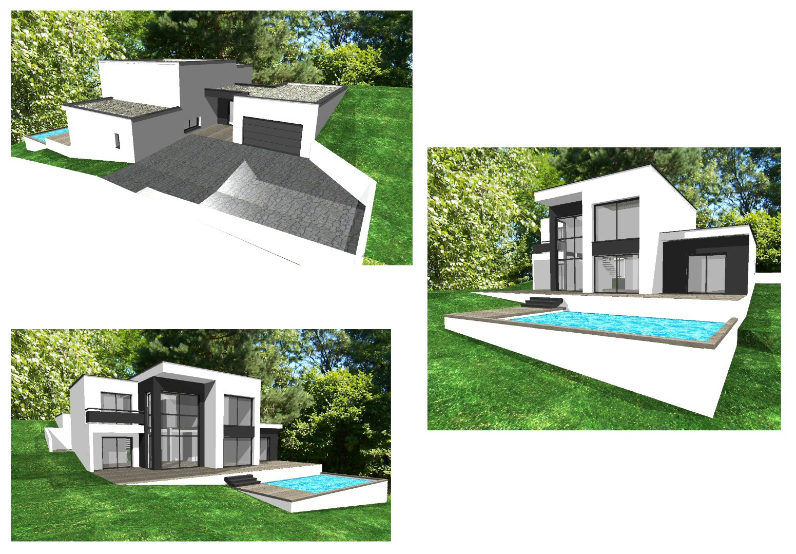 Projet de villa style architecte toit plat bureau d 39 tudes - Plan de maison cubique ...