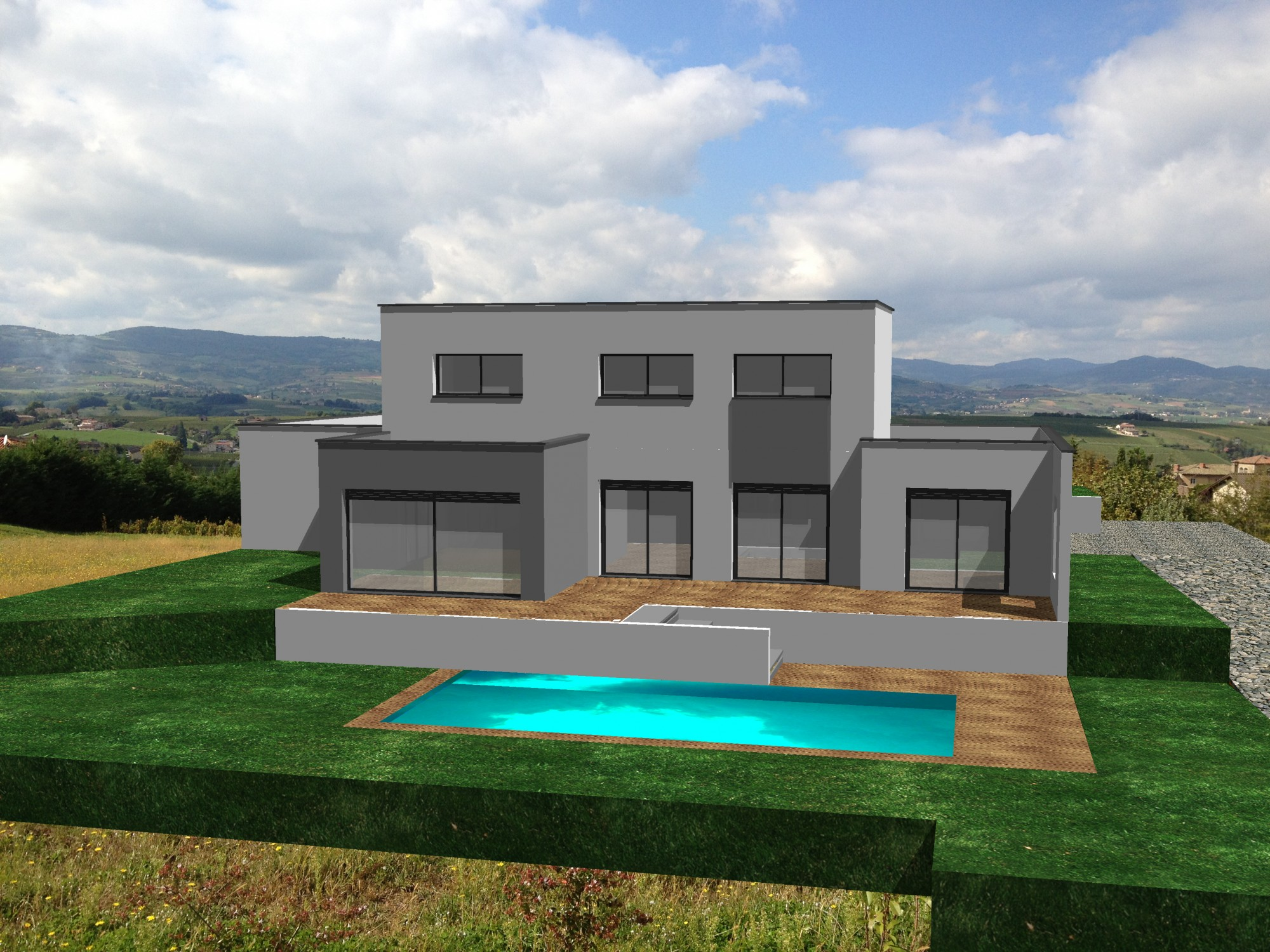 Concept creation fr univers photo de maison contemporaine a toit plat